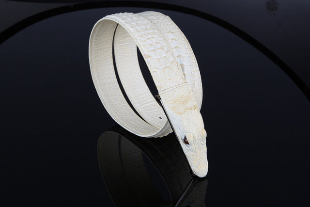 Crocodile Style Genuine Cow Hide Leather Designer Belt