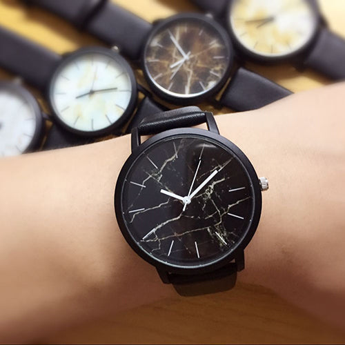 Marble Fashion Unisex Analog Watch with Genuine Leather Band