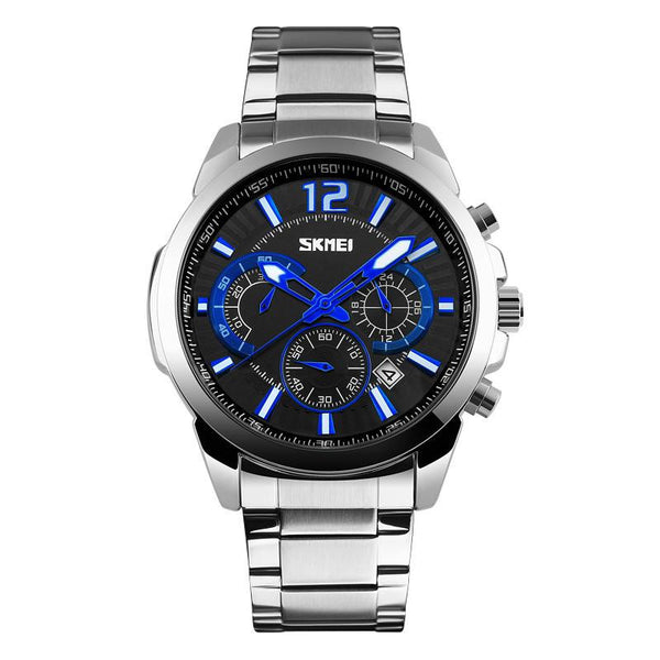 BLUE-91 Men's Chrono Full Stainless Steel Waterproof Business Watch