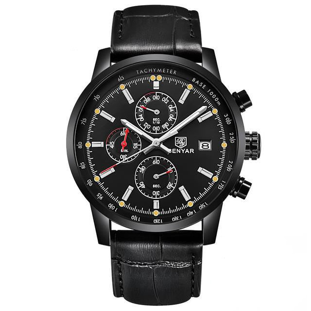 B 112 Men's Modern Military Chronograph Watch with Leather Strap