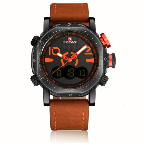 N 212 Luxury Leather Strap Sports Military Dual Time Quartz Analog Digital Wrist Watch