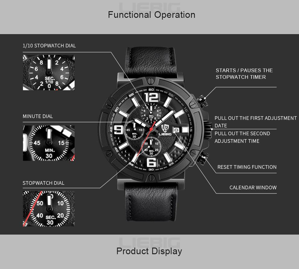 L 118  Men's Military Quartz Sports Leather Strap Wrist Watch