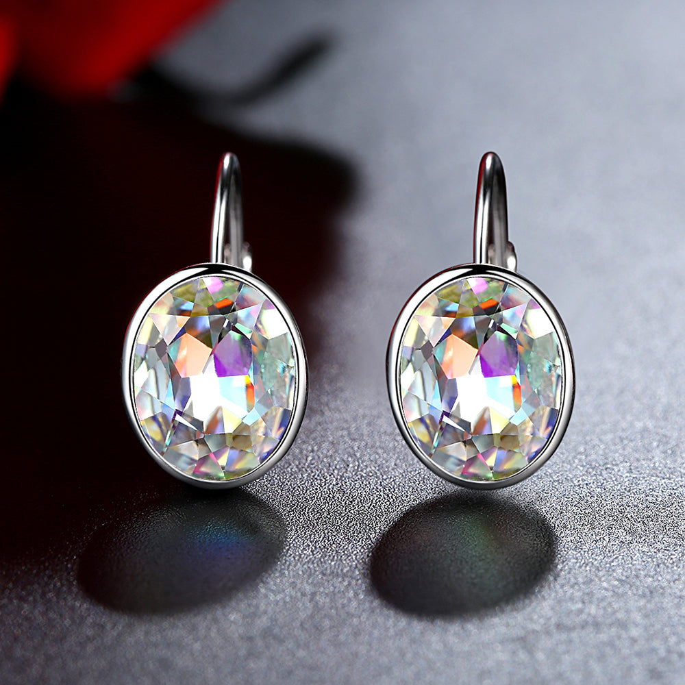 """Northern Lights""  Austrian Crystal 925 Sterling Silver Round Earrings"