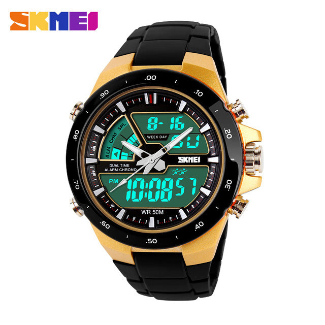 SK 50 Men's Water Resistant Sports Silicone Strap Wrist Watch