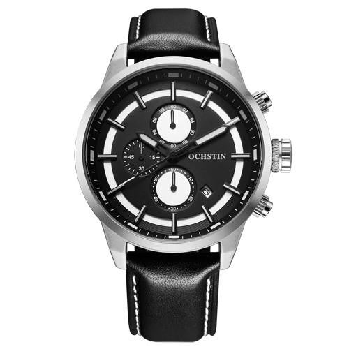 0-808 Men's Chronograph Quartz Analog Watch with Leather Strap