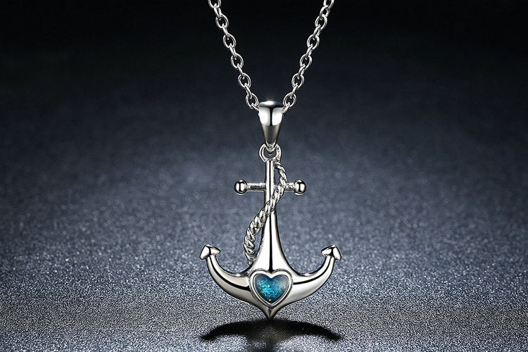 """Anchor"" 925 Sterling Silver Blue Heart Crystal Anchor Pendant Women's Necklace"