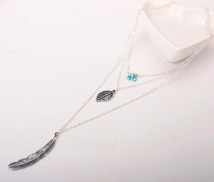 """Leaf"" Multi Layer Leaf Long Pendant Women's Necklace"