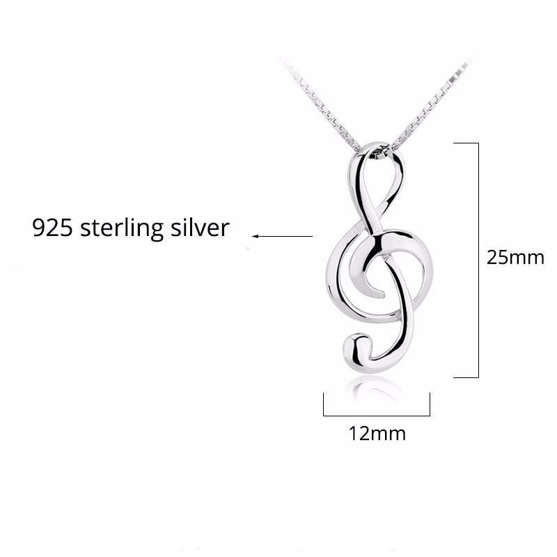 """Musical Treble Cleff"" Women's Silver Pendant Necklace"