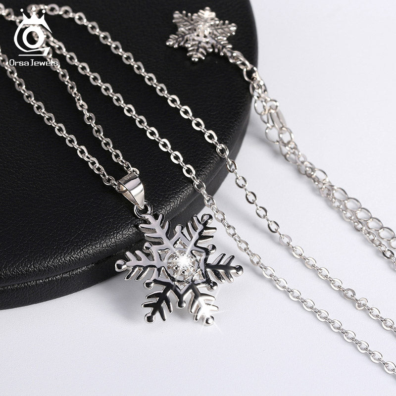 """Snowflake"" 925 Sterling Silver Snowflake Pendant Women's Necklace"