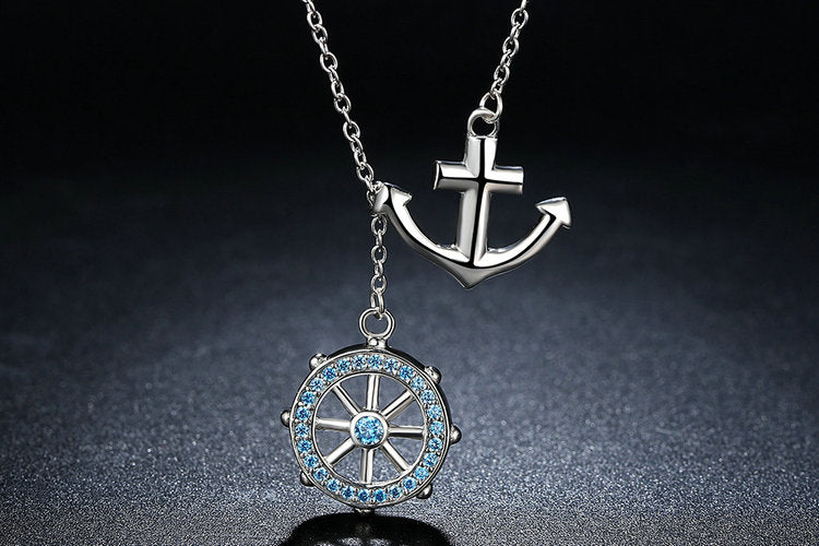 """Rudder With Anchor"" 925 Sterling Silver Rudder Anchor Pendant Women's Necklace"