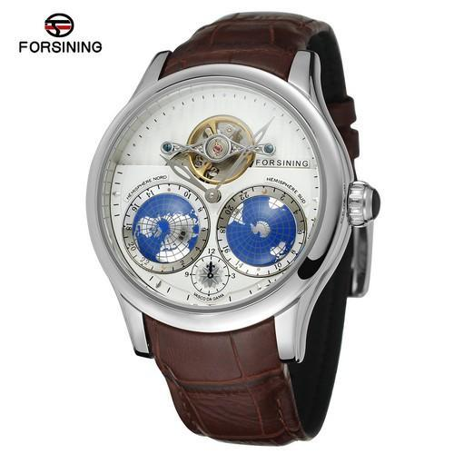 Luxury Stainless Steel Case World Map Wrist Watch