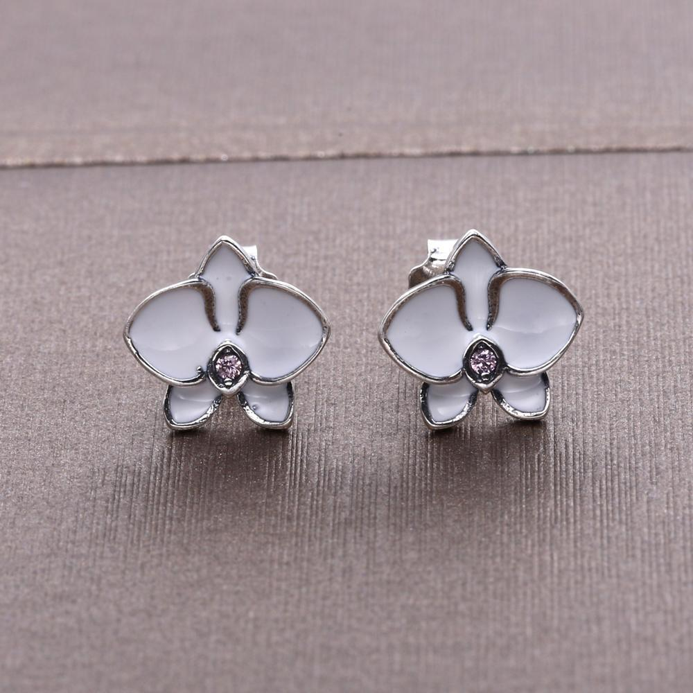 """Orchid"" Sterling Silver Orchid White Enamel Women's Stud Earrings"