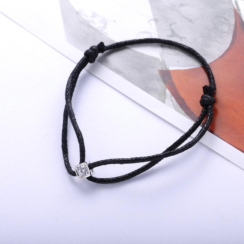 """Dice"" 925 Sterling Silver Square Shaped Women's Bracelet With Adjustable Black Rope"