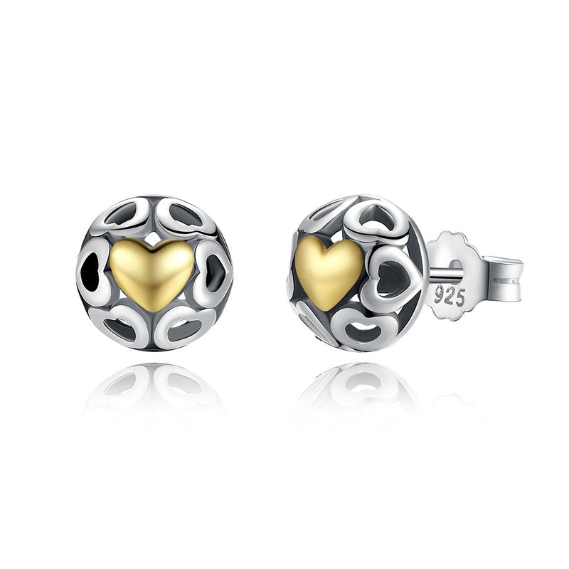 """Heart"" 925 Sterling Silver Love Openwork Heart Women's Stud Earrings"
