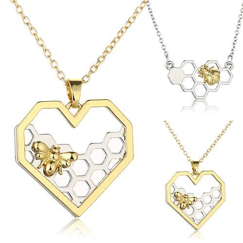 """Sweetheart""  Heart Gold/Silver Color Honeycomb Bee Women's Pendant"