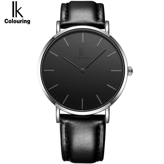 Ultra Thin Minimalist Fashion Quartz Watch With Genuine Leather Strap