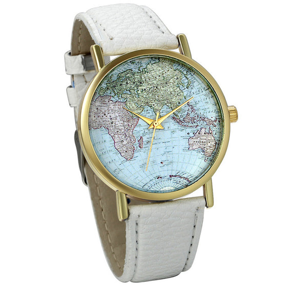 World Map Quartz Watch Women With Leather Band