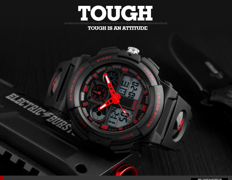 S-1270 The Futurist 50M Water Resistant Dual Display Chronograph Sports Watch
