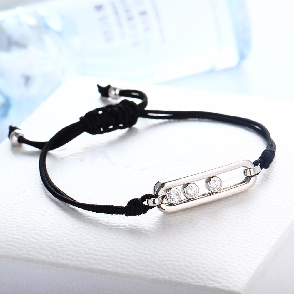 """3 Stars""  925 Sterling Silver Women's Bracelet With Black Adjustable Rope"