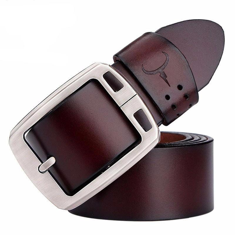 Longhorn Genuine Cowhide Leather Belt with Metal Buckle