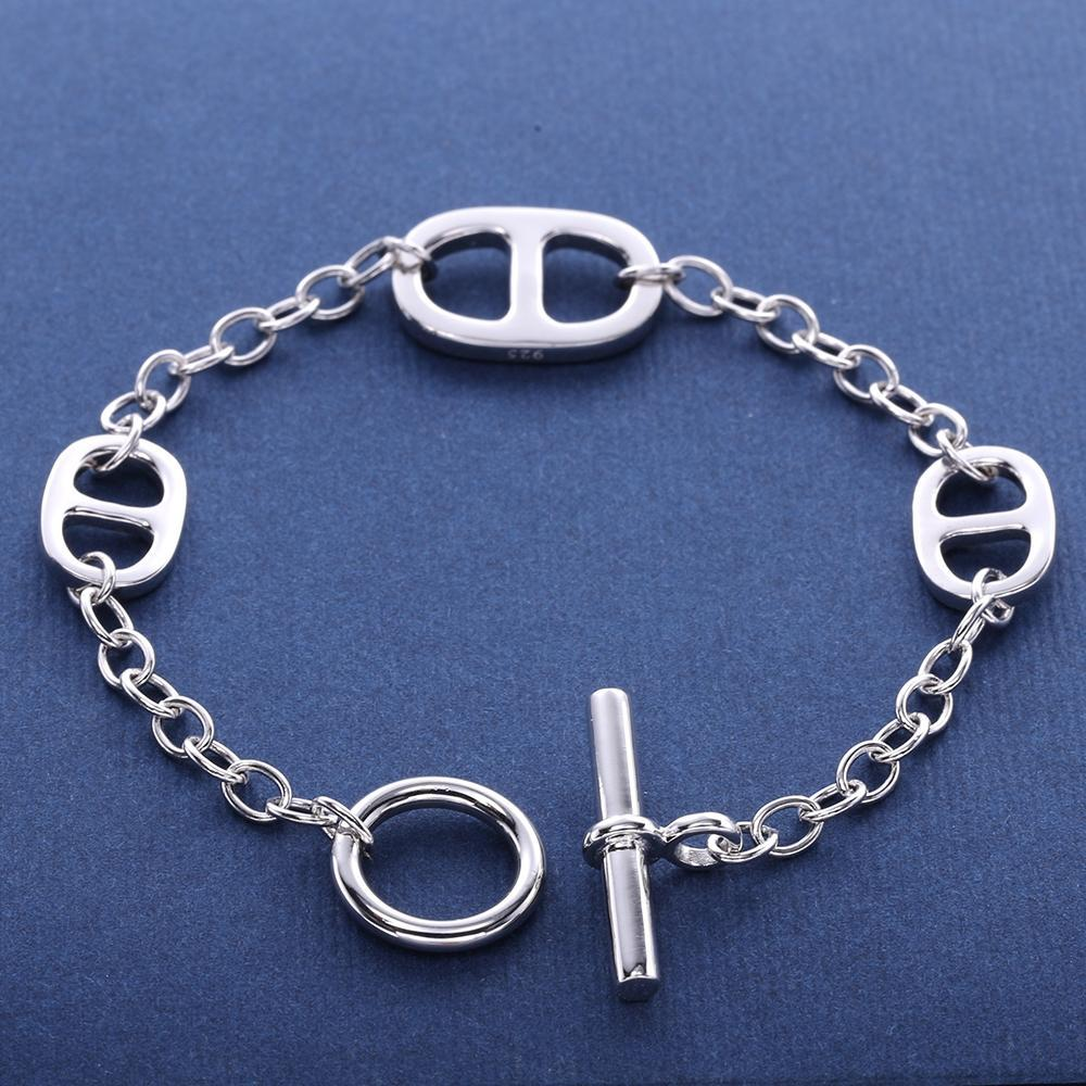 """Silver Infinity"" 925 Sterling Silver Infinity Women's Bracelet With Chain Link Silver Lock"