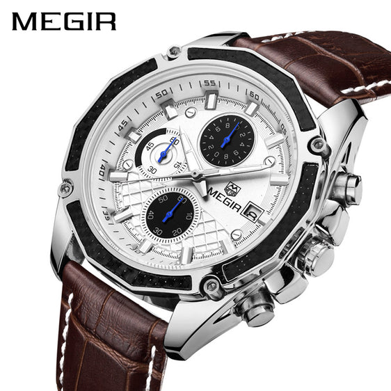MEGIR Official Genuine Leather Chronograph Quartz Men