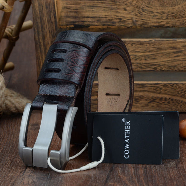 Rodeo Men's Genuine Cow Hide Leather Belt with Metal Buckle