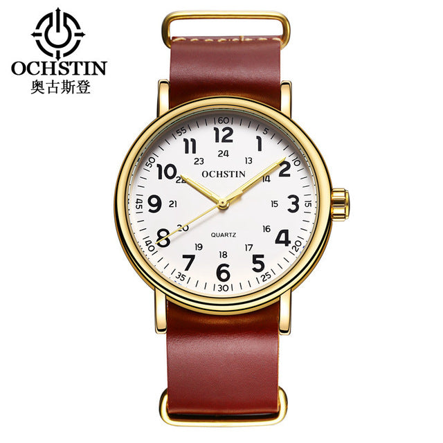 OCHSTIN Mens Watches Top Brand Luxury Genuine Leather Strap Quartz Watch Men Fashion Relogio Masculino 081B