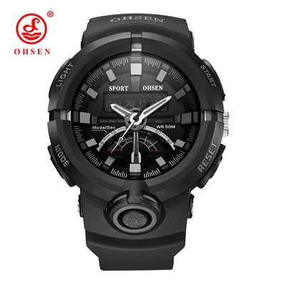 Men's Military Inspired 5ATM Swimming Dual Display Digital Quartz Sports Watch