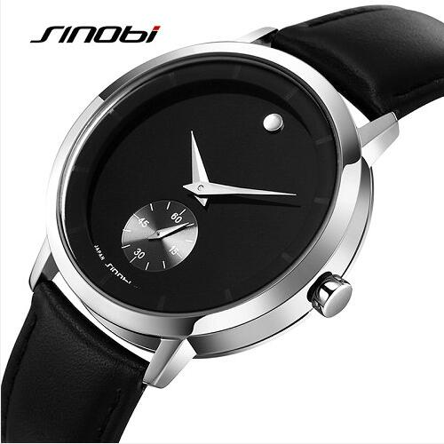 SINOBI Luxury Brand Men Quartz Watch Men's Genuine leather Top Luxury brand Japan Quartz Wristwatch Classic relojes hombre 2017