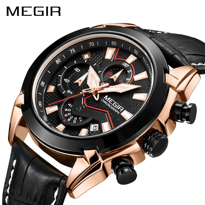 Megir Men's High Octane Leather Chronograph Sport Watch