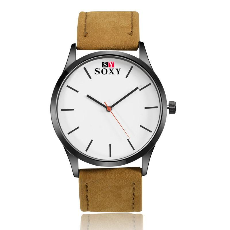 SOXY Brand Minimalist Fashion Sport Watch Men Watch Leather Quartz Watch Men Hours montre homme relogio masculino reloj hombre