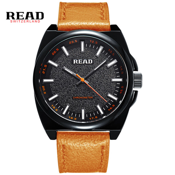 Large Dial Minimalist Design Leather Strap Watch Men