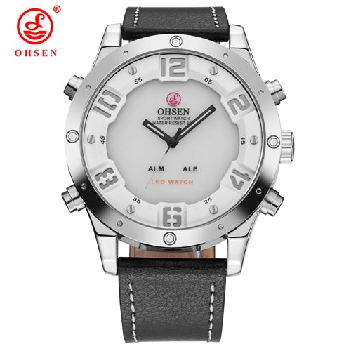 Men's Ultra Stylish Leather Band Dual Display LED Quartz Watch