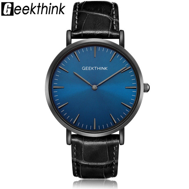 Ultra Thin Luxury Quartz With Genuine Leather Strap