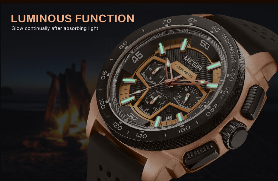 MEGIR Chronograph Men's Silicone Band Military Sport Watch