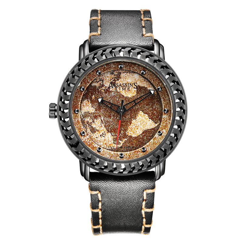 World Map Fine Fashion Watch With Genuine Leather Band