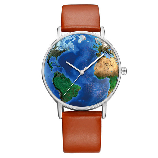 World Map Printed Stainless Steel Back Watch Silver Case
