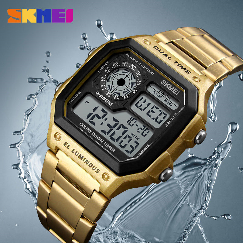 SKMEI Count Down Stainless Steel Digital Wrist Watch for Men