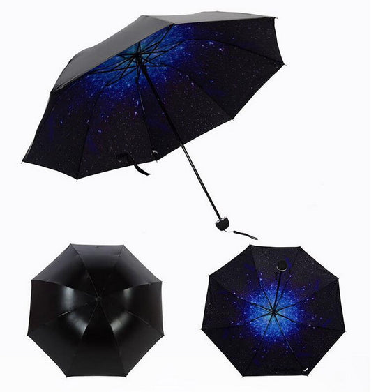 Portable Folding Umbrella With Flower Print Underside