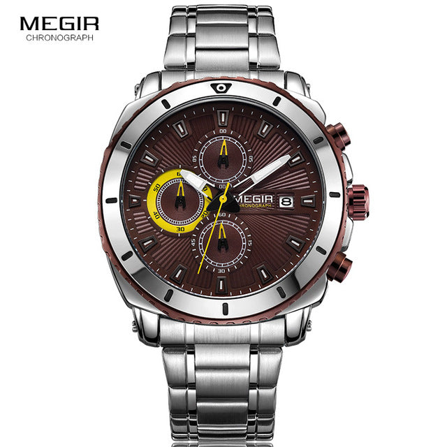 Megir Men's Blue Steel Chronograph Luminous Stainless Steel Quartz Sport Watch