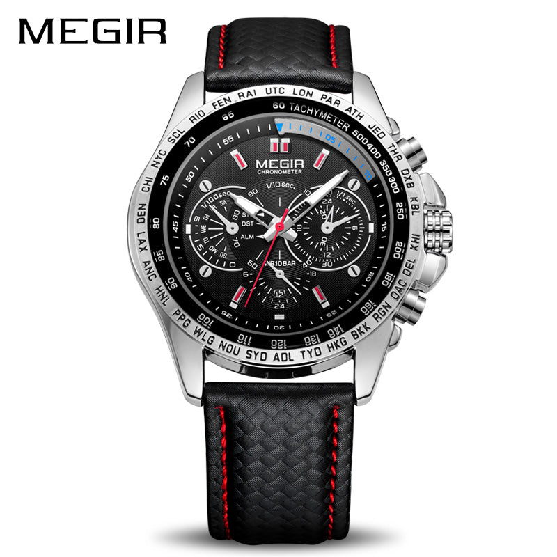 MEGIR PU Leather Band Casual Sport Watch