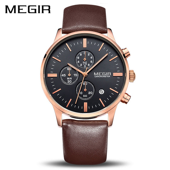 MEGIR Original Luxury Leather Men's Business Watch