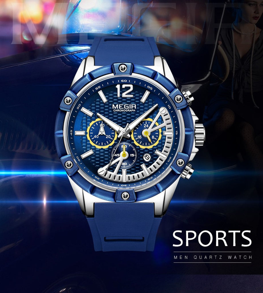MEGIR Ultra Chronograph Silicone Sport Watch