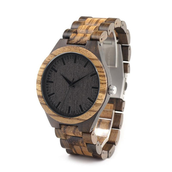 Designer Zebra and Bamboo Wood Watch