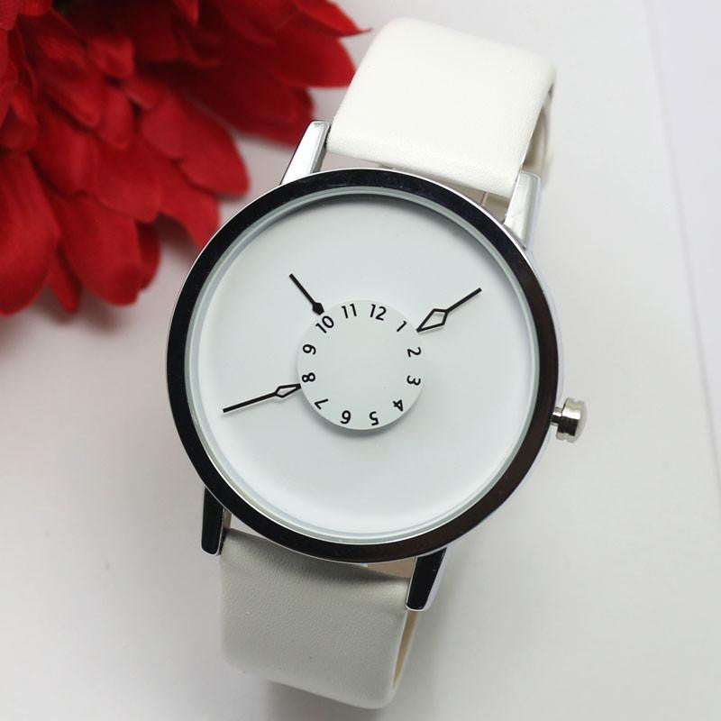 Women's Watch with Unique Inward Pointed Hour and Minute Hands