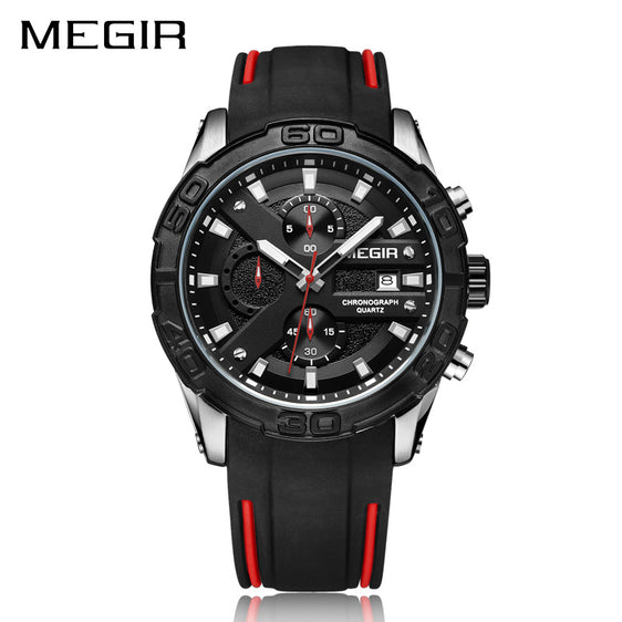 Megir Men's The Captain Chronograph Silicone Band Sport Watch