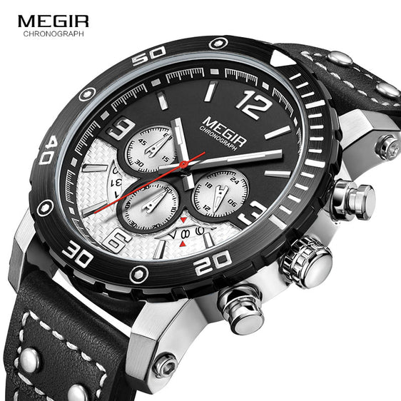 Megir Men's Lunar Genuine Leather Chronograph Watch