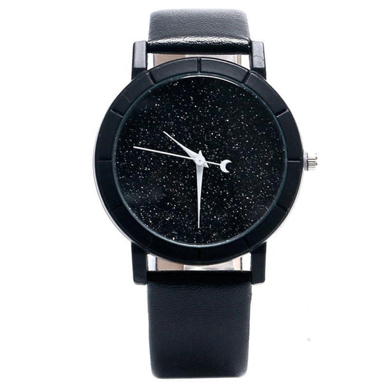 Stars and Moon Glitter Dial Analog Watch