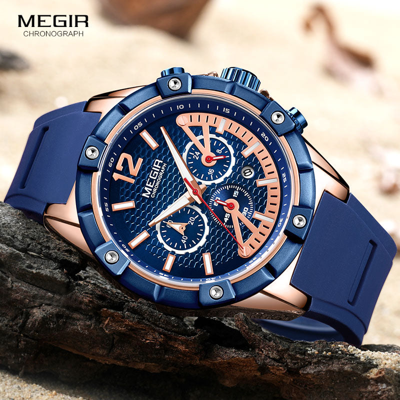 Men's Chronograph Elite Silicone Sport Watch